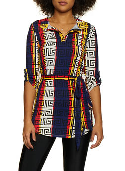 Multi Color Printed Tunic Top - 3034074293060