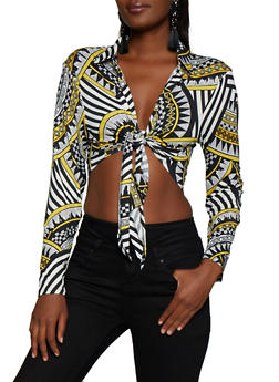 Tie Front Printed Crop Top - 3034074293070
