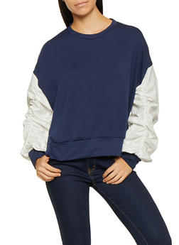 Ruched Bubble Sleeve Sweatshirt - 3034074295067