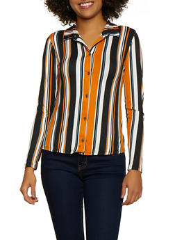 Striped Soft Knit Shirt - 3034074298141