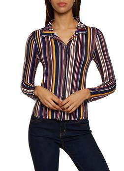 Striped Soft Knit Shirt - 3034074298141