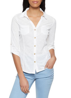 Rib Knit Side Tabbed Shirt - 3035015990038
