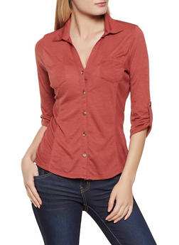 Rib Knit Side Tabbed Shirt - 3035015990038