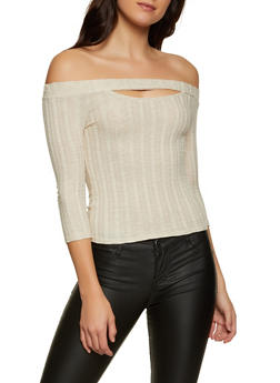 Rib Knit Cut Out Off the Shoulder Top - 3035015990169