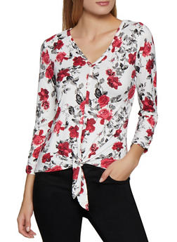 Crochet Back Floral Tie Front Top - 3035015990672
