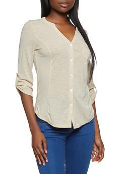 Solid Rib Knit Detail Shirt - 3035015990858