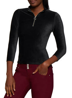 Zip Neck Corduroy Top - BLACK - 3035015990971