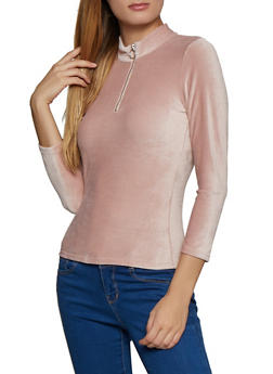Zip Neck Corduroy Top - 3035015990971
