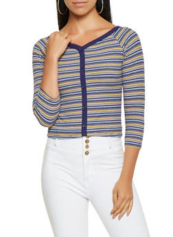 Striped Rib Knit Top - 3035015991301