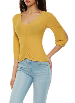 Open Sleeve Ruched Front Top - 3035015991701
