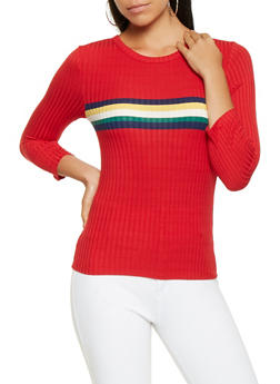 Rainbow Stripe Ribbed Knit Top - 3035015991800