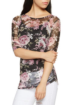 Ruched Floral Mesh Top - 3035015992900