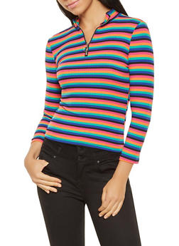 Striped Zip Neck Sweater - 3035015993304