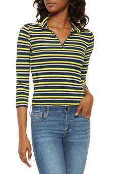 Rainbow Striped Zip Neck Sweater - 3035015993304