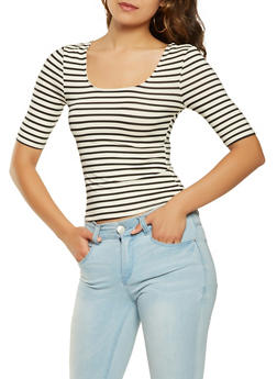 Striped Soft Knit Top - 3035015993700