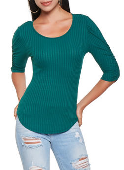 Ruched Sleeve Ribbed Knit Top - 3035015996901