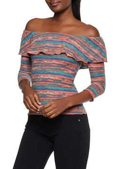Ruffled Off the Shoulder Striped Sweater - 3035015997050