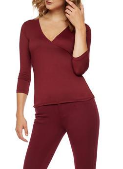 Soft Knit Faux Wrap Top - 3035015998650