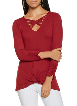 Crochet Detail Knot Front Top - 3035015999800