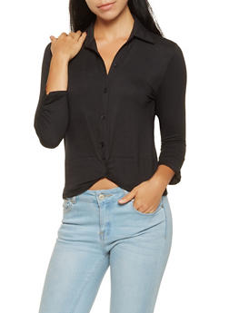 Ruched Sleeve Twist Front Shirt - 3035015999902