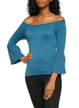 Bell Sleeve Off the Shoulder Top - 3035038343005