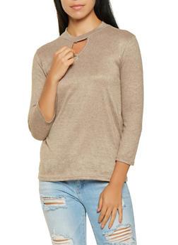 Marled Keyhole Sweater - 3035038343098