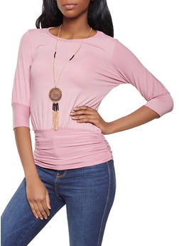 Soft Knit Ruched Top with Necklace - 3035038343211