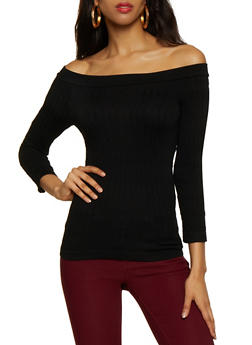 Cable Knit Off the Shoulder Top - 3035038344001