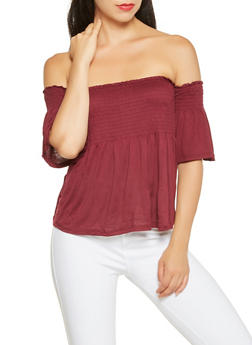 Smocked Off the Shoulder Top - 3035054260473