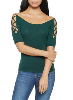Caged Sleeve Off the Shoulder Top - 3035054265881