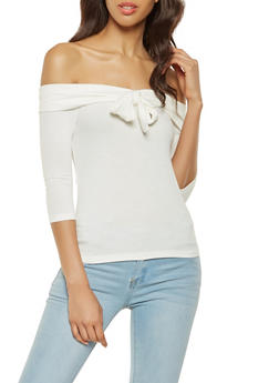 Tie Front Fold Over Off the Shoulder Top - 3035058750123