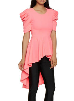 Puff Sleeve High Low Peplum Top - NEON PINK - 3035058750861