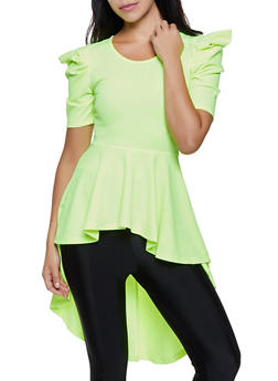Puff Sleeve High Low Peplum Top - 3035058750861