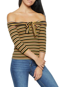 Striped Tie Front Off the Shoulder Top - 3035058751107