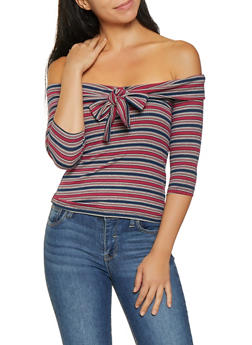 Fold Over Off the Shoulder Striped Top - 3035058751108