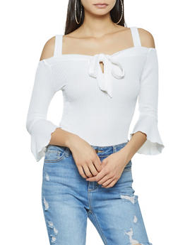 Tie Front Off the Shoulder Top - 3035058751262