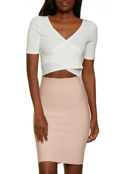 Ribbed Faux Wrap Crop Top - 3035058752256