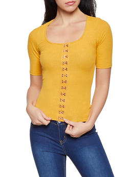 Hook and Eye Detail Top - 3035058752722