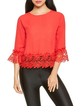 Crochet Trim Top - 3035074291135
