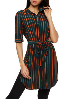 Striped Tie Waist Tunic Shirt - 3035074292067