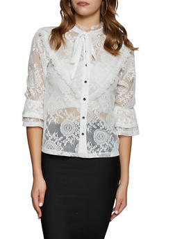 Tiered Sleeve Button Front Lace Top - 3035074293051