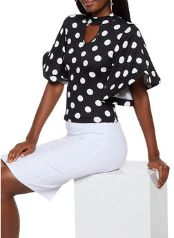 Polka Dot Wire Sleeve Top - BLACK/WHITE - 3035074293080