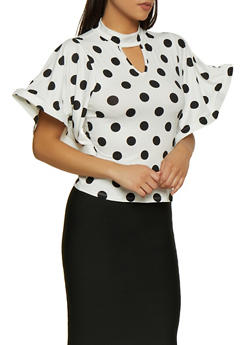 Polka Dot Wire Sleeve Top - 3035074293080