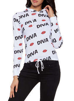 Diva Lip Graphic Hooded Top - 3036033870451