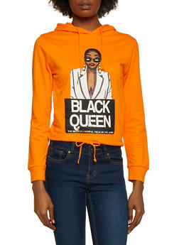 Black Queen Drawstring Hem Top - 3036033871284