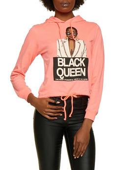 Black Queen Drawstring Hem Top - NEON PINK - 3036033871284