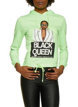 Black Queen Drawstring Hem Top - NEON LIME - 3036033871284