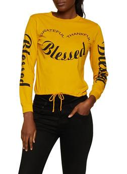 Blessed Drawstring Hem Tee - 3036033871514
