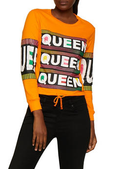 Queen Graphic Drawstring Hem Tee - 3036033871573