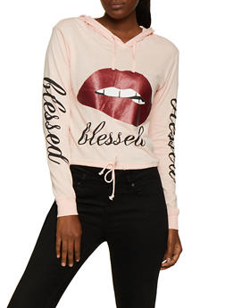 Blessed Glitter Lip Graphic Hooded Top - 3036033871653